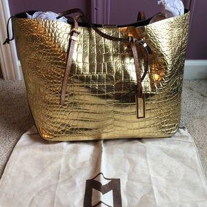 Michael Kors Python gold leather tote
